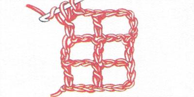 Филейная сетка с пустыми и заполненными клеточками, выполненная столбиками с накидом (фото 5)