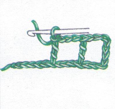 Филейная сетка с пустыми и заполненными клеточками, выполненная столбиками с двумя накидами (фото 1)