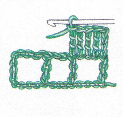 Филейная сетка с пустыми и заполненными клеточками, выполненная столбиками с двумя накидами (фото 3)