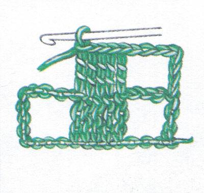 Филейная сетка с пустыми и заполненными клеточками, выполненная столбиками с двумя накидами (фото 4)
